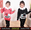 Fall girl cartoon in the rabbits with hood fleece long dot woollen sweater