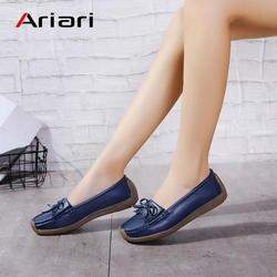 Ariari/Женская обувь на плоской подошве, лоферы из натуральной кожи, женские мокасины без шнуровки, модные женские повседневные тонкие туфли
