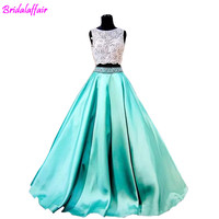High quality Turquoise Two Pieces 2018 Prom Dresses Lace Formal Girls Pageant Gowns Beading Vintage Cheap Party prom Dresses