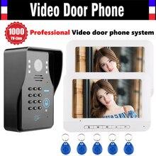 7 Inch Screen Video Door Phone Intercom System 1000TVL Password Code Keypad Camera 5pcs ID Card Video Doorbell Kit 2-monitor