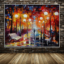 Large High Quality Handpainted Knife landscape Modern Oil Painting On Canvas Abstract  Wall Decor Rain Tree Road Palette Picture