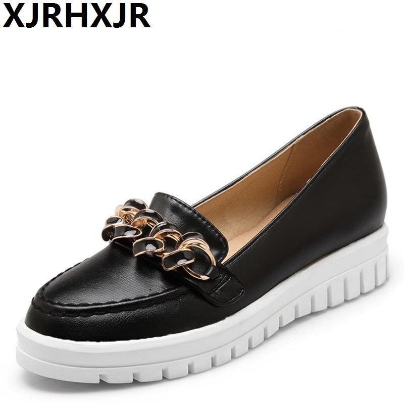 XJRHXJR Korea Version Women Flat Heels Shoes Fashion Platform Sweet Casual Shoes Female Girl Students Shallow Mouth Shoes Flats стоимость