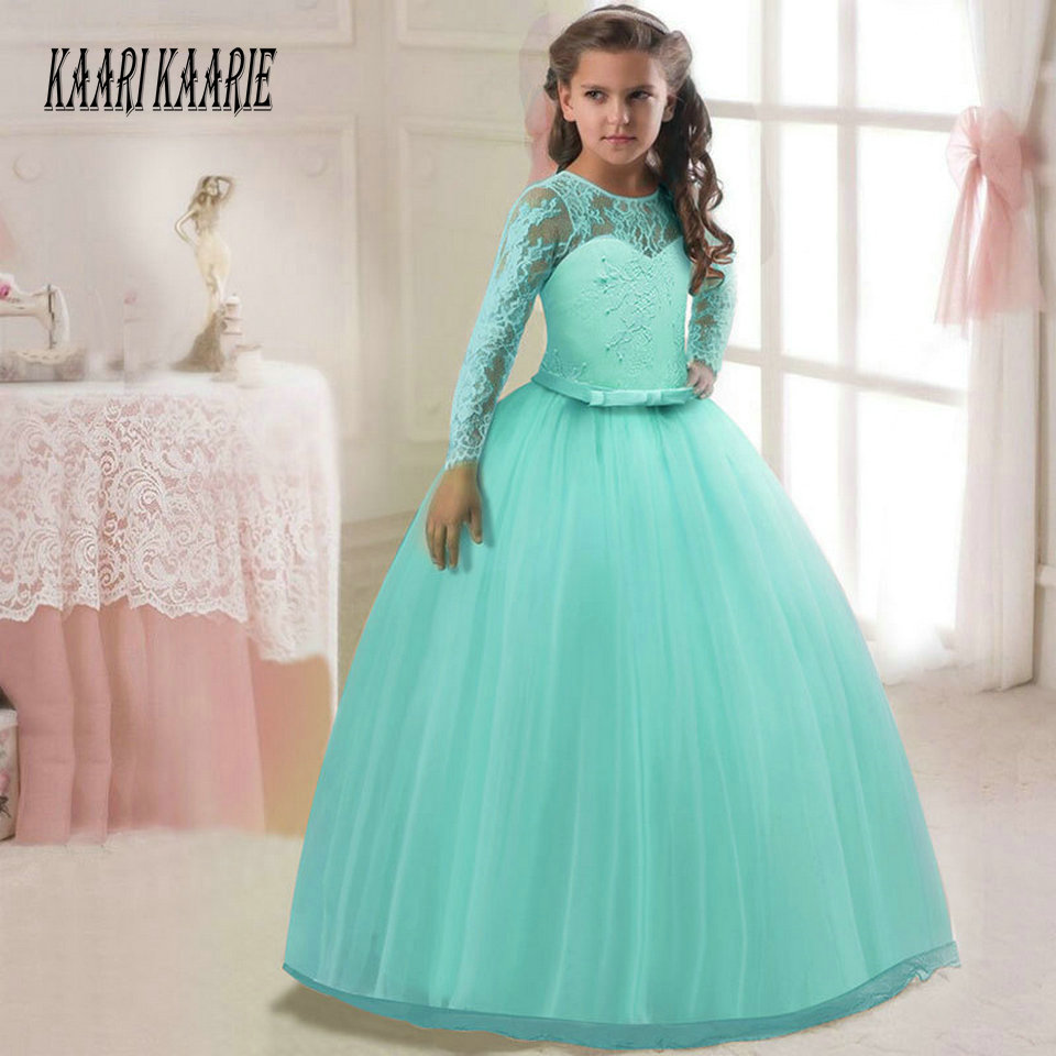 Fashion Bule   Flower     Girl     Dress   2018 Women Child Wedding Party Gowns O Neck Tulle Lace Zipper Ball Gown First Communion   Dresses