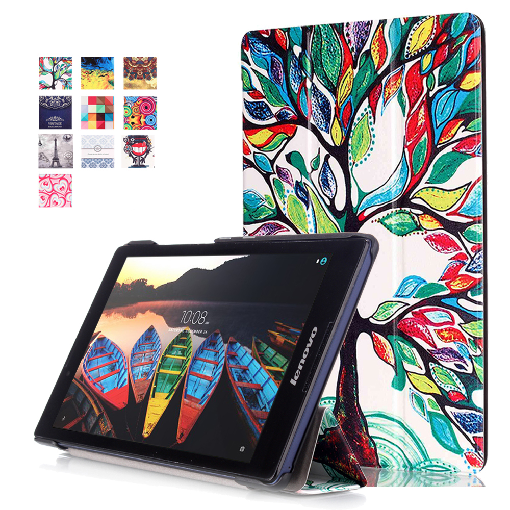 For Lenovo tab 3 8 8.0 TB3-850F 850M 850X / Tab 2 A8-50 8''  tablet Magnetic Stand Print pu leather Case+screen protector+stylus magnetic stand smart pu leather cover for lenovo tab 4 8 tb 8504f 8504n 8 0 tablet funda case free screen protector stylus pen