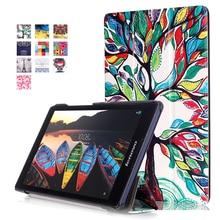 """Para Lenovo tab 3 8 8.0 TB3-850F 850 M 850X/Tab 2 A8-50 8 """"tablet Soporte Magnético de Impresión pu Funda de cuero + protector de pantalla + stylus"""