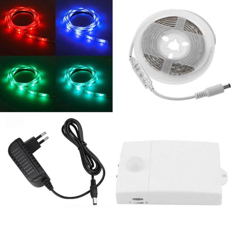 New 12V Infrared Motion Sensor Switch+12V RGB LED Strip Light+Adapter For Christmas hot sales of new sensor light strip with high quality and convenient multi functional 3w 6w outdoor home decor led strip light lamps