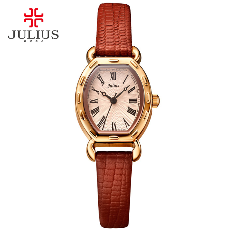 JULIUS Small Dial Wrist Watches For Women Rome Number Genuine Leather Watch Rose Gold Antique Relogio