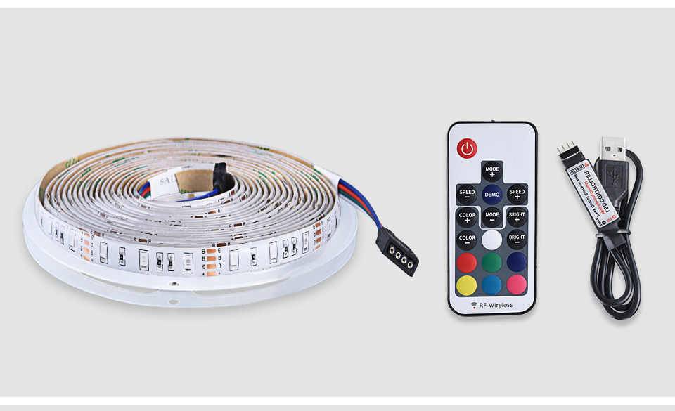 2835 SMD RGB USB charger LED Strip light DC 5V USB Cable LED Light lamp Flexible Tape 1M 2M 3M 4M 5M RF IR RGB Remote control (20)