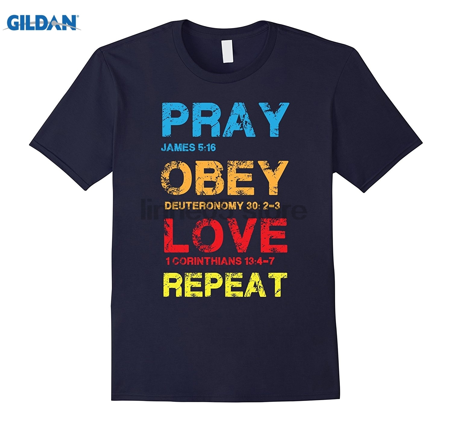 GILDAN Pray Love Repeat - Bible Verse - Christian Bible Shirt Womens T-shirt