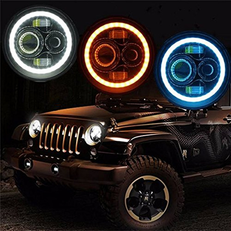 2PCS 7'' Round 40W LED Projector Headlight H4 H13 LED Headlamp DRL Halo Ring Angel eye for 97-15 Wrangler JK Hummer H1 H2 hireno headlamp for 2016 hyundai elantra headlight assembly led drl angel lens double beam hid xenon 2pcs