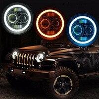 2PCS 7'' Round 40W LED Projector Headlight H4 H13 LED Headlamp DRL Halo Ring Angel eye for 97 15 Wrangler JK Hummer H1 H2