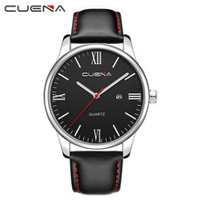 CUENA Men Watch Luxury Faux Leather Blue Ray Glass Quartz  With Calen mens watches man watch 2019 reloj hombre erkek kol saati cuena men watch luxury faux leather blue ray glass quartz with calen mens watches man watch 2019 reloj hombre erkek kol saati