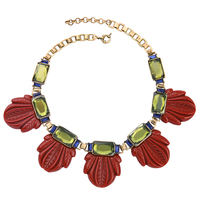 Designer Modeschmuck Antik Gold Farbe Frauen Mode Colliers Schwarz Rot Verlässt Halskette Kurzkettigen