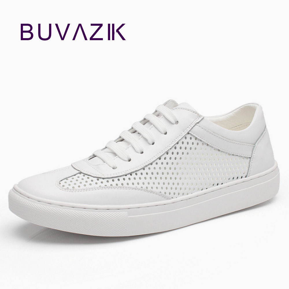 BUVAZIK men sneakers Fashion hollow white shoes trend net shoes breathable wild casual genuine leather shoe men цена 2017