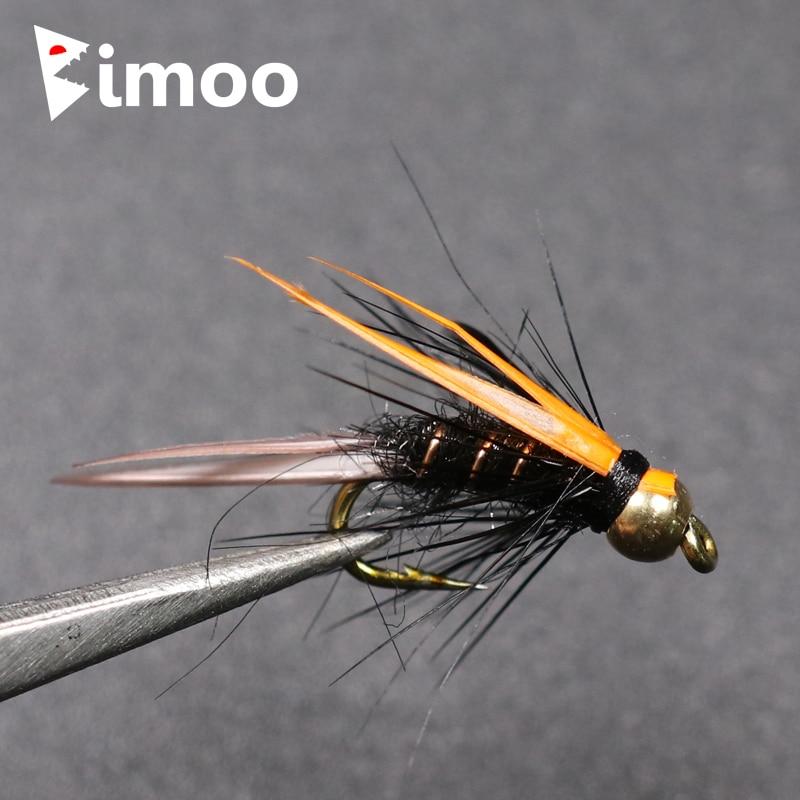 6PCS Brook Trout Greyling Arctic Char Caddis Metallic Brass Bead Head Flies #14