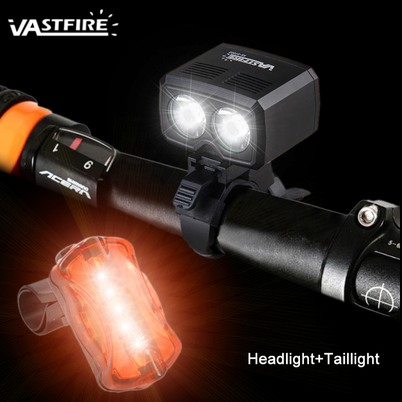 USB Rechargeable Handlebar Bike Lights 5000LM 2X T6 LED Cycling Lamp with Built-in Battery+ Safety Taillight