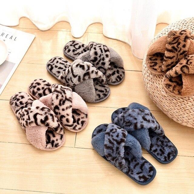899ceedefbb New Plush Slippers Cross Cotton Slippers Women Non-slip Warm Ladies Leopard  Slippers