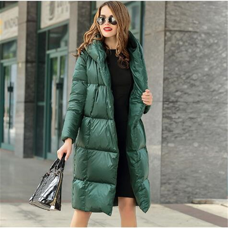 Woman winter Padded Warm   Coat   Light Duck   Down   Jacket Long Female Overcoat Slim Solid Winter   Coat   Portable Parkas Oversized 2018