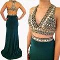 2017 de cristal de dos piezas de vestido de noche verde esmeralda sirena africana venta de vestidos formales más tamaño batas de soirée longue