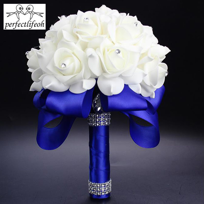 Perfectlifeoh White Royal Blue Rose Flowers Bridal Bouquet With