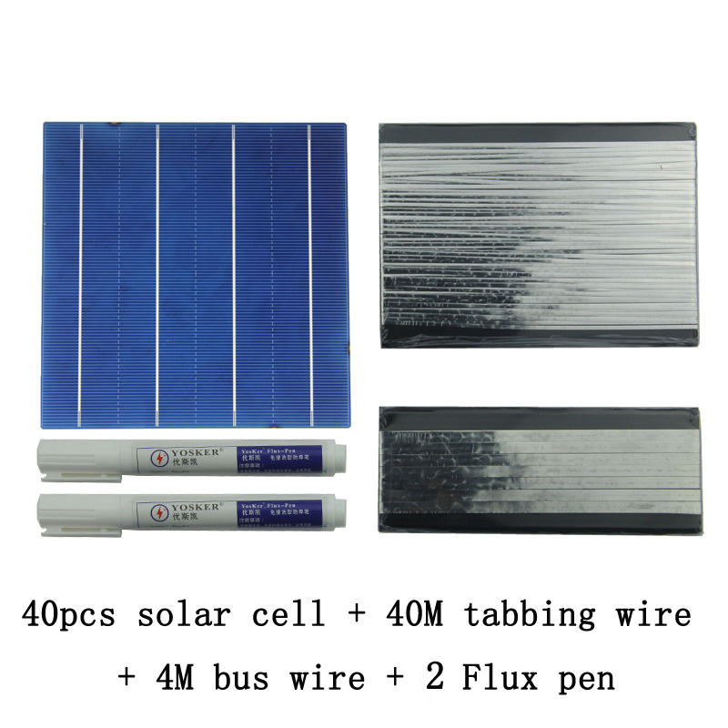 40Pcs 156MM Polycrystalline DIY Solar Panel Cells Kit With 60M Tabbing Wire 6M Busbar Wire and 3Pcs Flux Pen diy solar panel 270w 100pcs monocrystall solar cell 5x5 with 60m tabbing wire 6m busbar wire and 3pcs flux pen