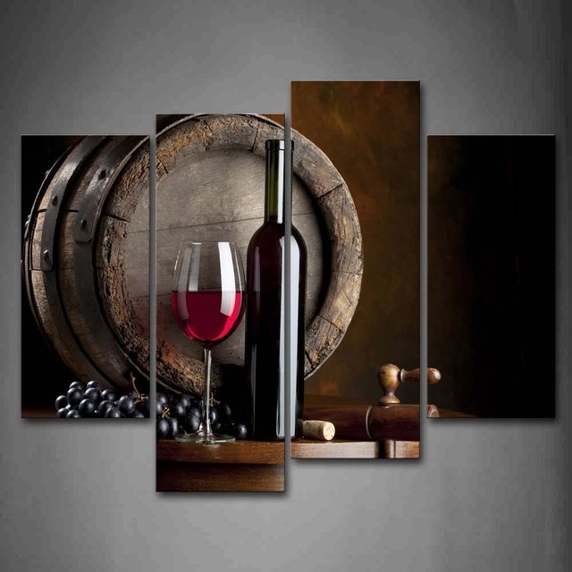 4 panel moderno impreso nuevo vino gafas cuadro cuadros cocina ...