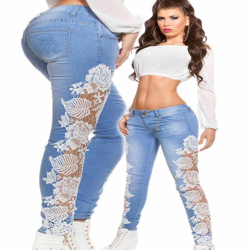 Nowych kobiet modny haft boczne koronki dżinsy drążą Skinny Denim Jeans kobieta ołówek spodnie Patchwork spodnie Ropa Mujer