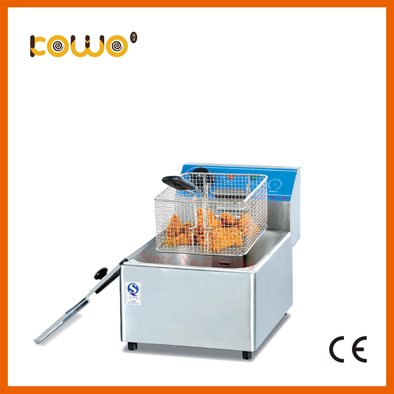 Stainless Steel table counter top food machinery double tank double basket electric chicken potato chips deep