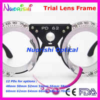 XD18 5pcs a lot Nice Design 12 Different Fixed 48-70mm PDs Pupil Distance Optometry Black Trial Lens Frame Lowest Shipping Costs