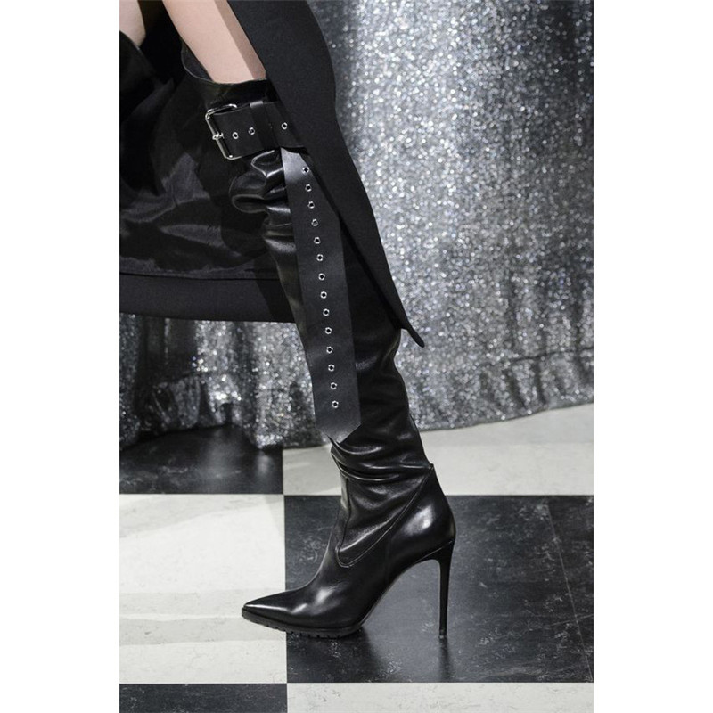 Runway Black Leather Belted Thigh High Boots Buckle Pointed Toe Stilettos Heels Over The Knee Boots Motorcycle Shoes Women 2019Runway Black Leather Belted Thigh High Boots Buckle Pointed Toe Stilettos Heels Over The Knee Boots Motorcycle Shoes Women 2019