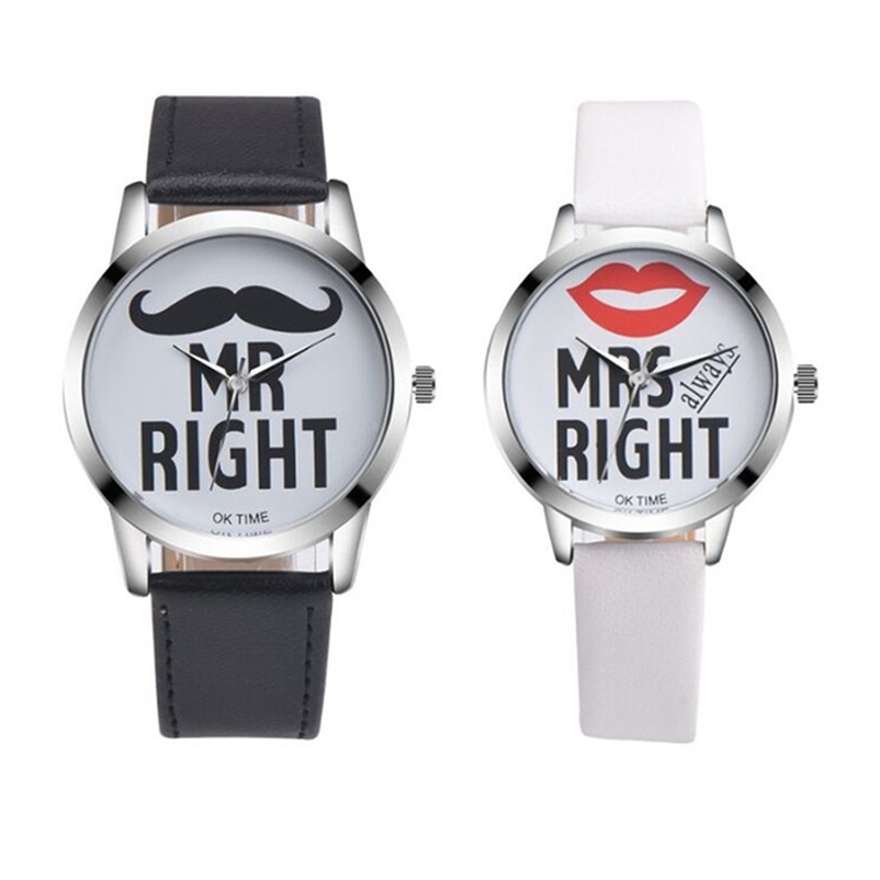 Fashion Beard Lips Pattern Couple Quartz Wristwatches Simple Casual Leather Strap Watches Lover's Students Women Clocks Relogio