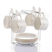4pcs/set 150 ml Porcelain  coffee cup and saucer coffee set ceramic tea cup and saucer set send The cup holder spoons