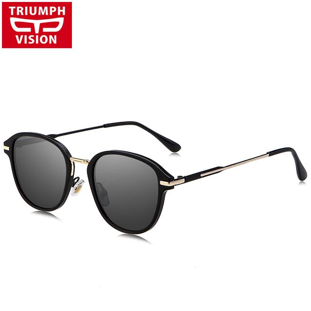 TRIUMPH VISÃO Preto Polarizado Masculino Óculos De Sol Da Marca Designer Driving Oculos Shades UV400 Proteção Óculos De Sol Para Homens 2017