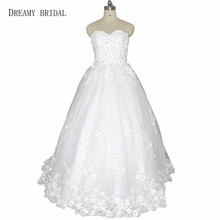 DREAMY BRIDAL 3D Applqiues Wedding Dresses Sweep Train