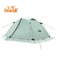 Hewolf Outdoor double layer waterproof Four Seasons 2 person winterized winter tent layer Beach Tourist camping tent snow skirt