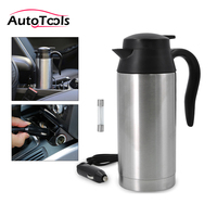 750ml 12V Car Heating cup Stainless Steel Cup Kettle Travel Thermoses Coffee Tea Heated Mug Motor Hot Water For Car Truck Use
