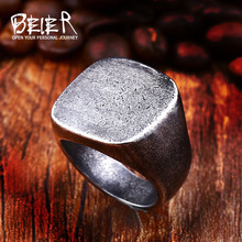 Beier 316L Stainless Steel Round and square Antique silver men and women High Quality fashion wholesale ring jewelry LR484(China)