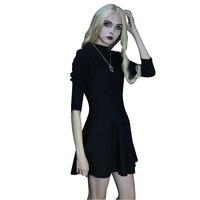 2018 A Autumn New Sexy Lady Dresses Black A line Short Dresses Empire Knit Chic Dresses Turtleneck Empire Classical Dresses
