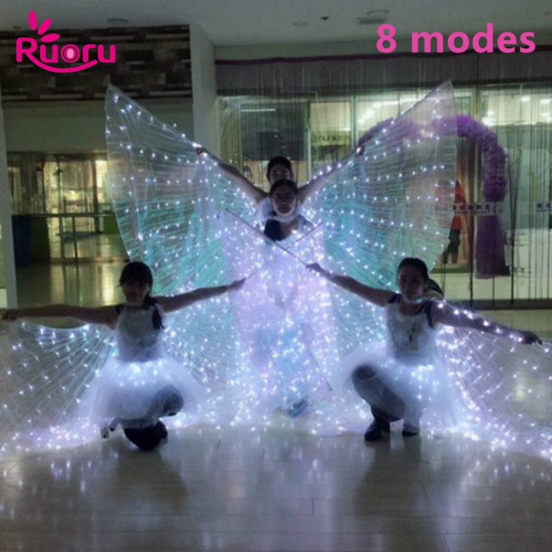 Ruoru Belly Dance Led Wings 8 Modes Adult White Led Isis Wings With Stick Open 360 Degrees BellyDance Stages Performance Props