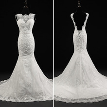 Vestidos de Noivas 2016 Lace Up Back A Line Applqiues Satin Lace Bridal Gowns Cap Sleeve Brush Train Custom Made Wedding dress