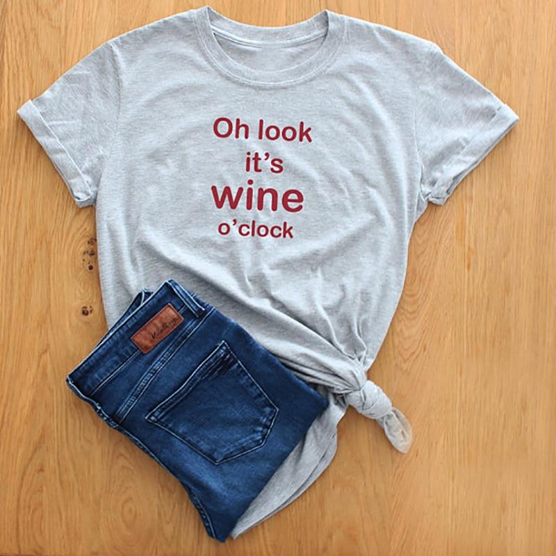Summer Women Tops Enjoythespirit Premium Cotton Oh Look Its Wine OClock Wine Lover Funny Shirt Instagram Shirt T shirt