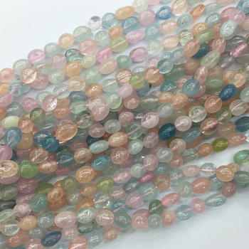 Alta calidad Natural claro azul verde rosa aguamarina berilo morganita Nugget forma libre filete Irregular Pebble Beads 05348