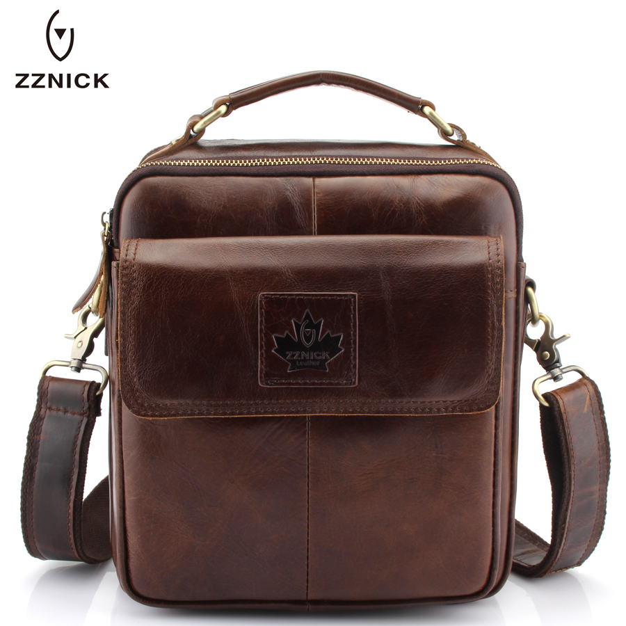 ZZNICK Luxury Men's Genuine Cowhide Leather Messenger Bag Men Crossbody Shoulder Bag Briefcase,Top Brand Vintage Men Bag Handbag original 14 inch led 30pin 1920 1080 laptop led lcd screen auo b140han01 2 for lenovo y40 lcd display