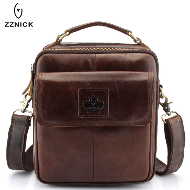 bd00b03818a8 ZZNICK Luxury Men s Genuine Cowhide Leather Messenger Bag Men Crossbody  Shoulder Bag Briefcase