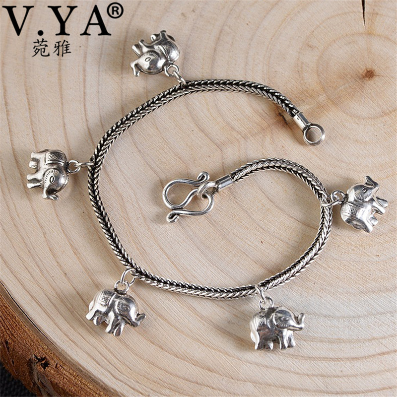 V.YA 19cm 925 Sterling Silver Snake Chain Bracelets for Women Vintage Elephant Charm Bracelet Ladies Best Gift