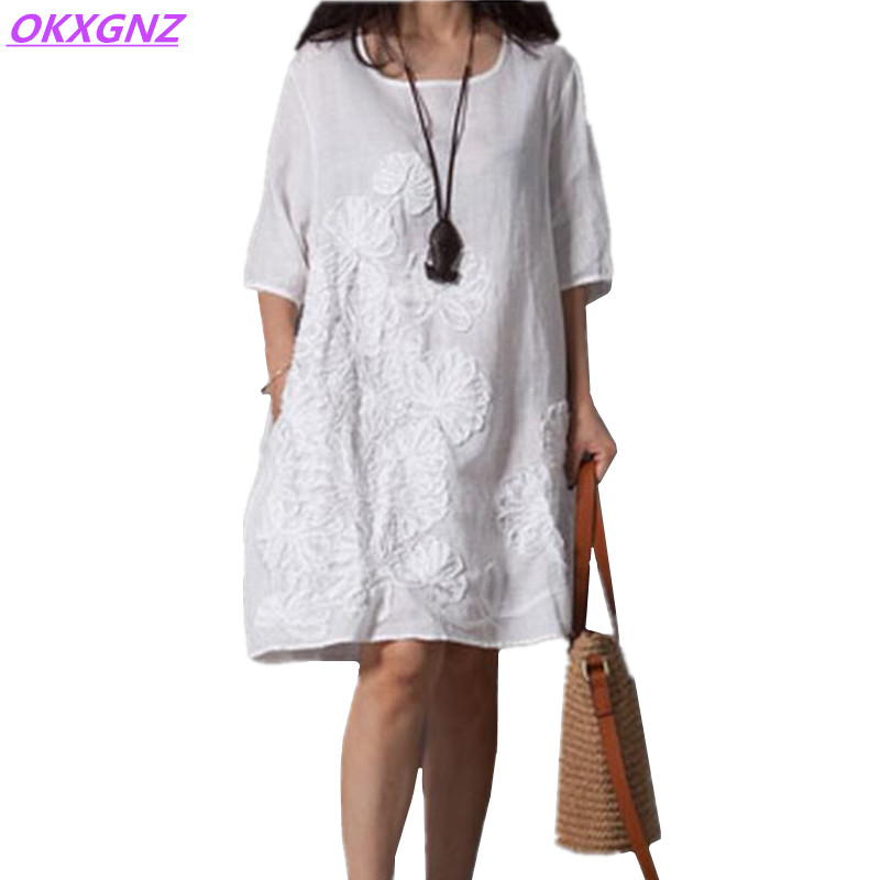 OKXGNZ Cotton Linen Dress Women 2018 Summer New Fashion Costume Embroidery Dress Round Neck Middle Sleeves Loose Plus Size AH143