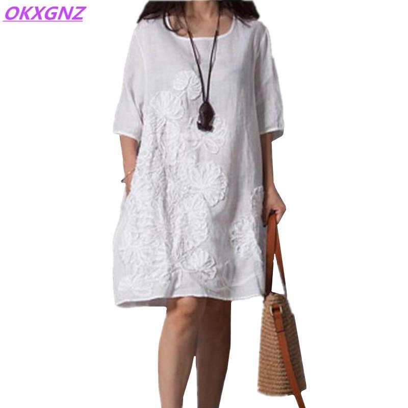 OKXGNZ Vestido de Lino de Algodón Mujeres 2018 Verano Nueva Moda Traje de Bordado Vestido de Cuello Redondo Mangas Medias Floja Más Tamaño AH143
