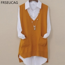FRSEUCAG  Autumn and winter series of new cashmere vest Ms. V-neck computer-knit solid color loose pullover soft comfortable