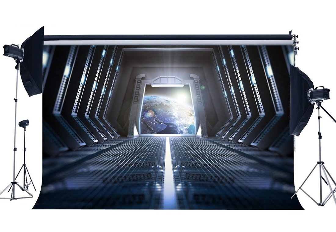 Spaceship Backdrop Inner Passage of the Spacecraft Earth Shining Lights Creative Gloomy Wallpaper Photography Background-in Photo Studio Accessories from Consumer Electronics