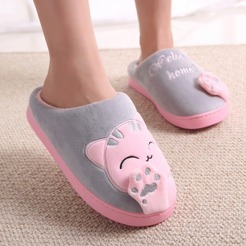 Women Winter Home Slippers Cartoon Cat Shoes Non-slip Soft Winter Warm House Slippers Indoor Bedroom Lovers Couples Floor Shoes 2